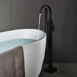 Arcora Tub Filler Faucets Schwarzer Einhandboden mit Handbrause