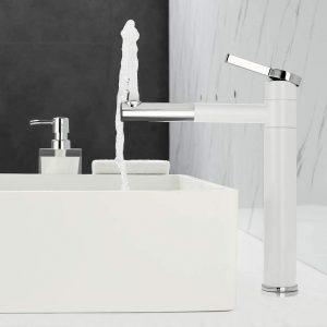 360° drehbar  Waschtisch Armatur Einhebelmischer für Bad Weiß