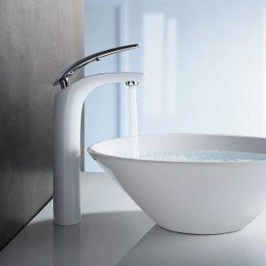 Weiß Chrom Waschtischarmatur hoch Wasserhahn Bad Armatur Badzimmer Einhebelmischer Badarmatur Waschbecken Waschtisch Mischbatterie