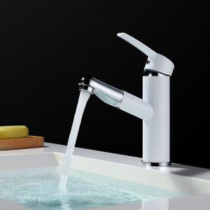 Moderne Armaturen für Badezimmer Weiß und Chrom