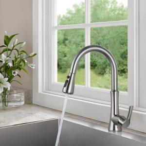ARCORA Spültischarmatur mit Brause Küchenarmatur Ausziehbar Wasserhahn Küche Armatur mit 2 Strahlarten 360° Drehbar Einhebel Mischbatterie Nickel Gebürstet